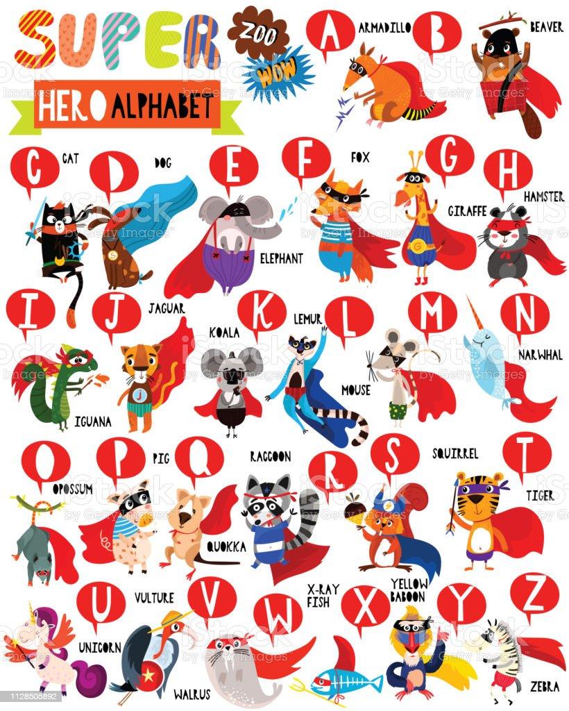 Superhero Zoo Alphabet. Cute colorful children zoo A-Z alphabet for...