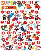 Superhero Zoo Alphabet. Cute colorful children zoo A-Z alphabet for kids. Learning English vocabulary. Funny cartoon animals.