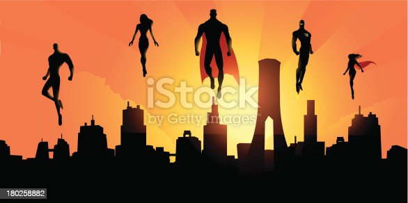 A silhouette style illustration of a team superheroes hovering in the sky above the city they protect. Perfect for website header banner or Facebook cover.