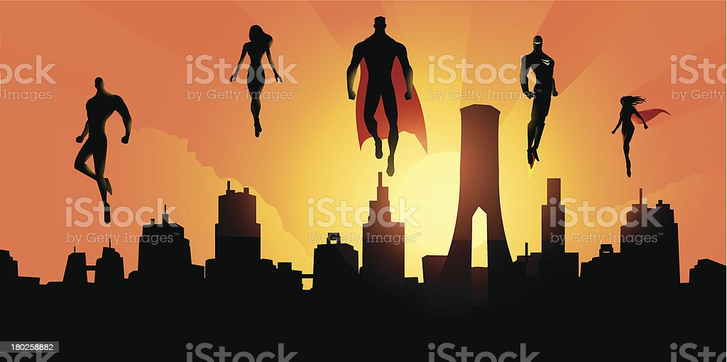 Superheroes Above the City vector art illustration