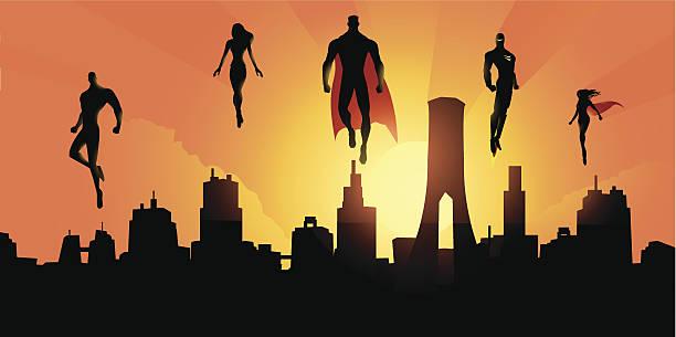 superheroes above the city - superhero stock illustrations, clip art, cartoons, & icons