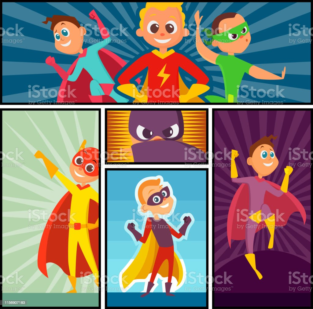 Superheroes banners. Kids heroes characters in action poses comic...