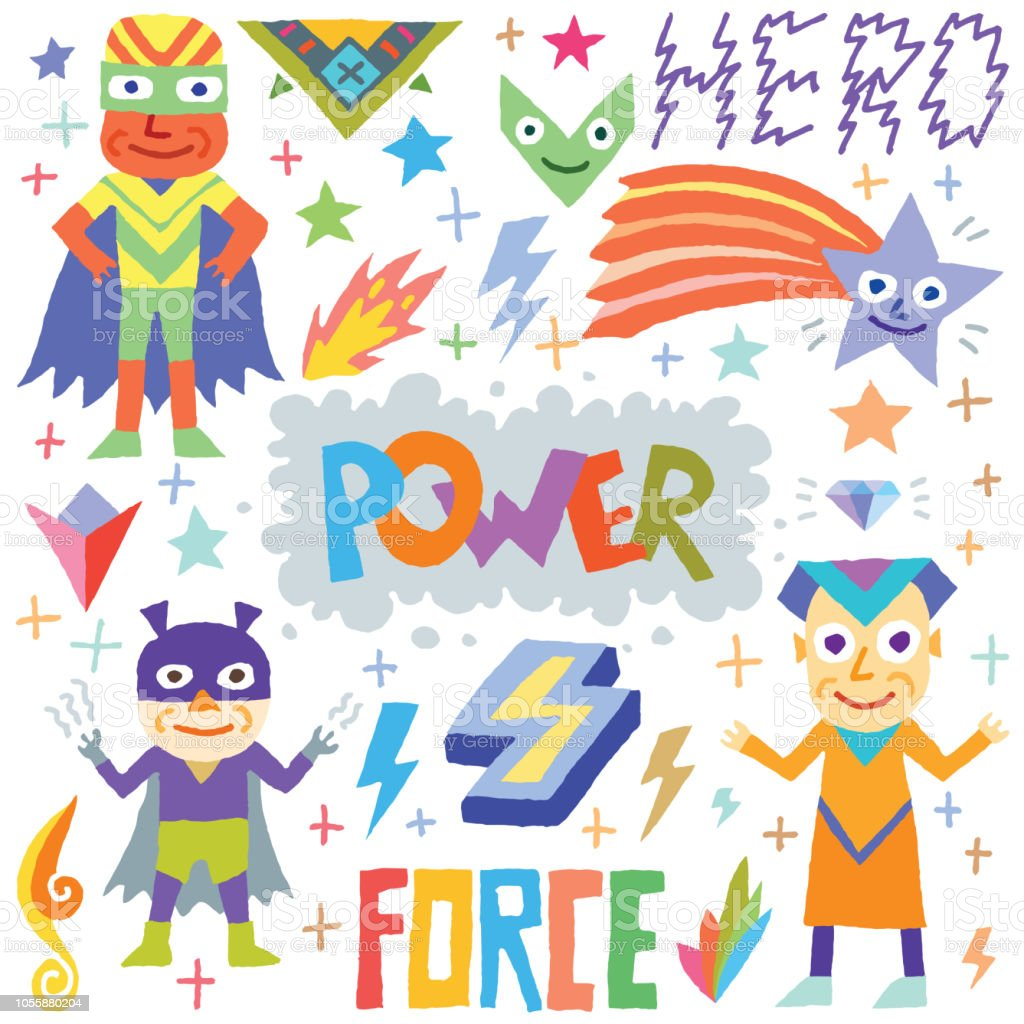 Superheroes Cartoon Colorful Doodle Characters Set 4 Vector