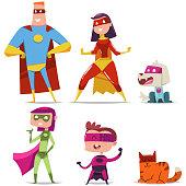 Superheroes family. Cartoon vector character set.