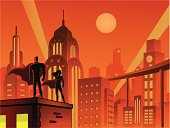 A cartoon silhouette illustration of superheroes with Art Deco style Cityscape in the background