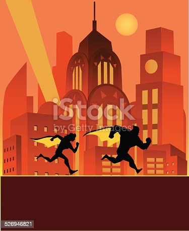 A cartoon silhouette illustration a superhero and his sidekick running in the night, patrolling the city they protect.