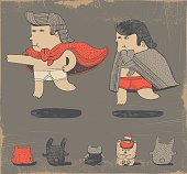Vector illustration of hand drawn boys playing superheroes