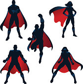 three male and two female superheroes in battle poses
