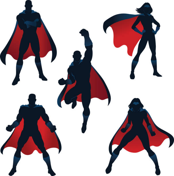 superhelden-silhouetten in rot und blau - superhelden stock-grafiken, -clipart, -cartoons und -symbole