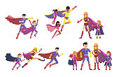 Superheroes smiling parents and their children in super hero costumes with cape and masks. Happy family of superheroes. Cartoon vector illustration