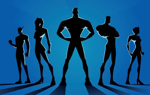 Superheroes Team Dark Silhouette