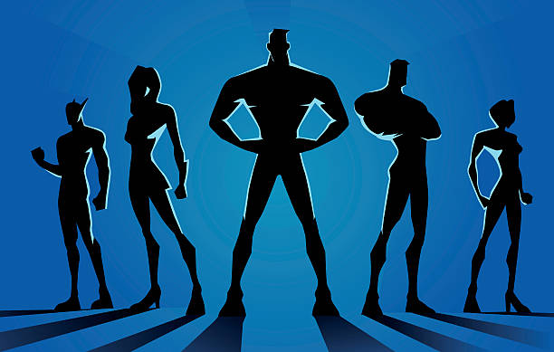 stockillustraties, clipart, cartoons en iconen met superheroes team dark silhouette - in de camera kijken