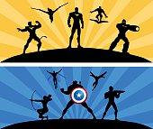 Superheroes Team Rivalry Vector