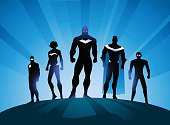 Superheroes Team Silhouette Illustration