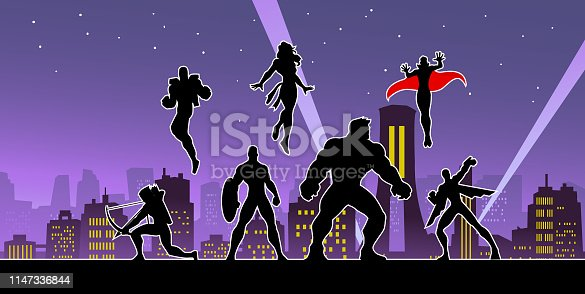 A silhouette style illustration of a team of superheroes in a city background at night. Easy to edit.