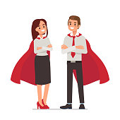 Business superheroes concept. Flat style vector illustration isolated on white background.