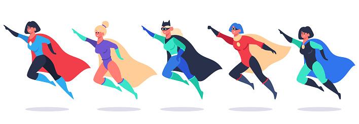 Superheroes women. Wonder female characters, super girls in superhero waving cloak costume, powerful woman superhero vector illustration set