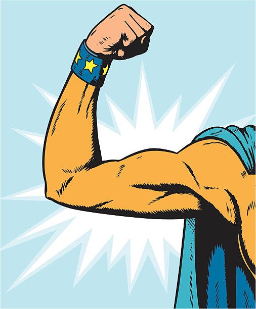 superheroine arm flexing. vector art illustration