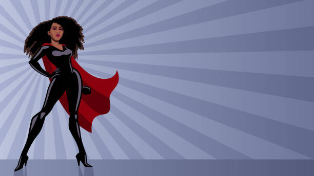 Superheroine Black Ray Light Full length illustration of determined and powerful black superheroine wearing red cape while standing tall against abstract ray light background. african american ethnicity stock illustrations