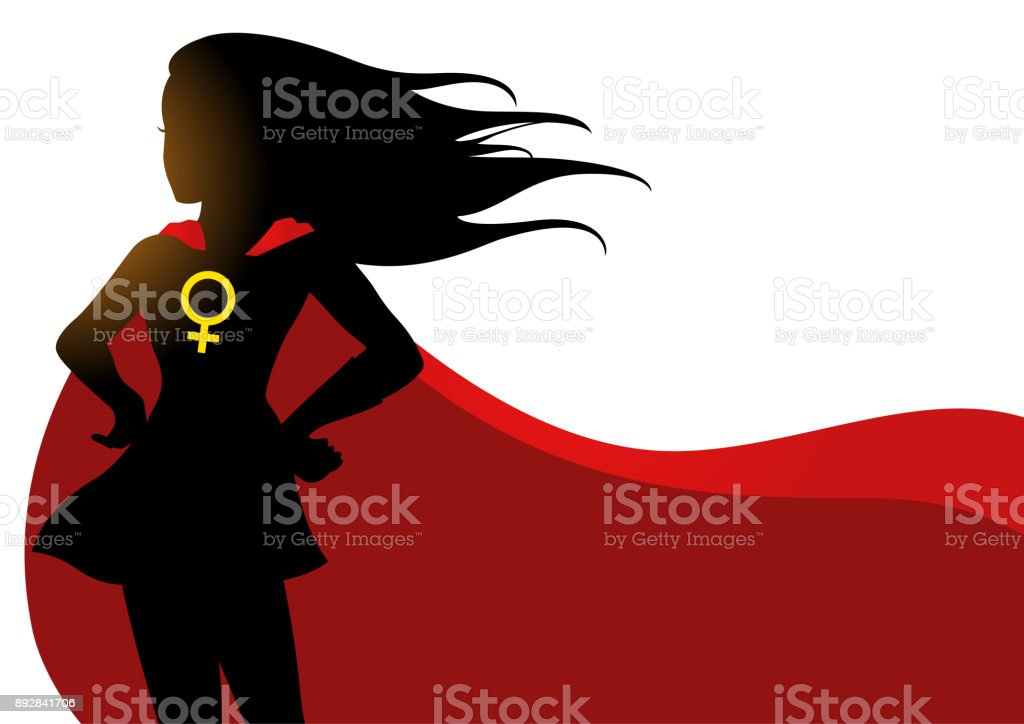 Superheroine in red cape with female symbol vector art illustration
