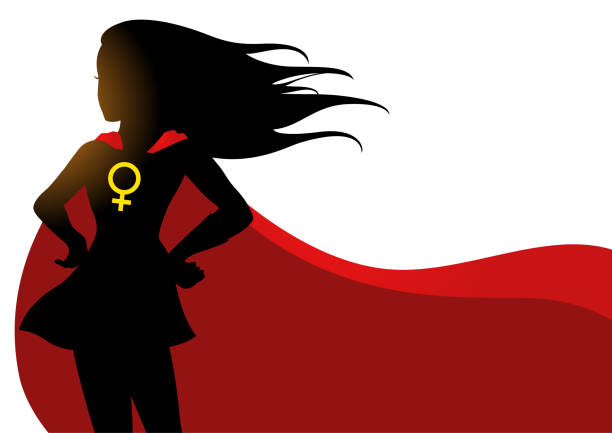 Superheroine in red cape with female symbol Illustration of a superheroine in red cape with female symbol battle of the sexes concept stock illustrations
