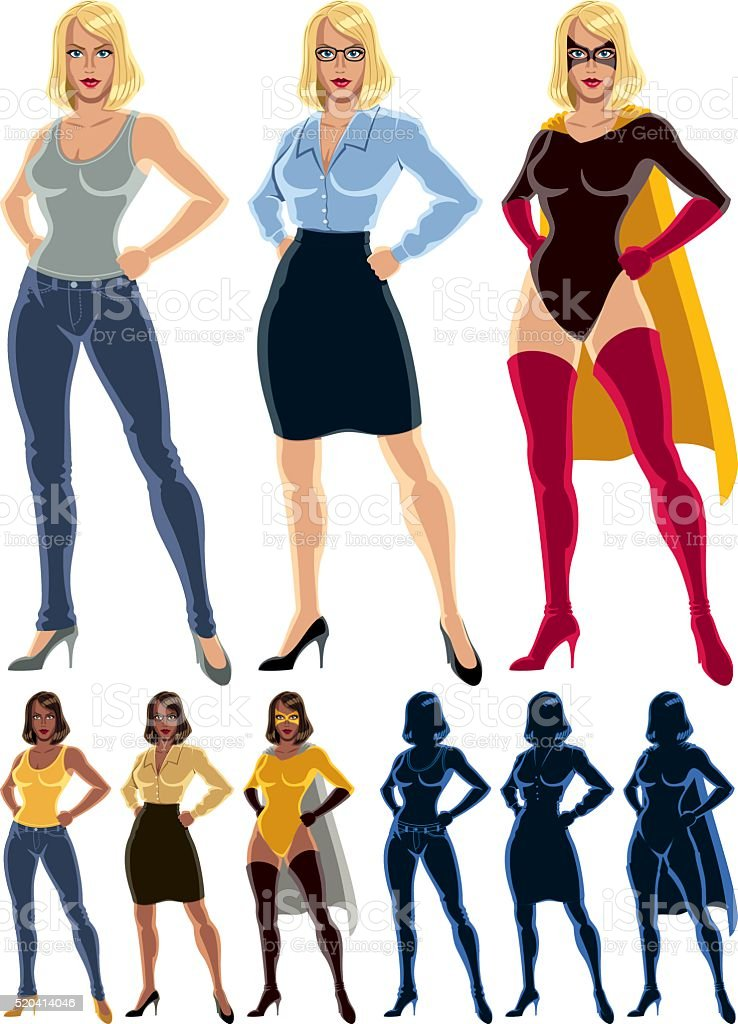 Superheroine Transformation vector art illustration