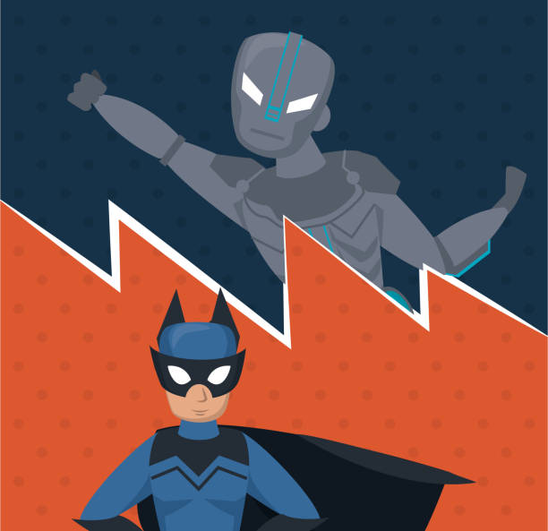 superhelden-team-cartoon - gerechtigkeitsliga stock-grafiken, -clipart, -cartoons und -symbole