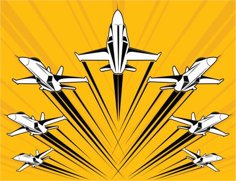 F18 super-hornet flying in formation
