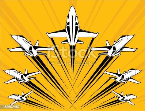 istock F18 super-hornet flying in formation 165602487