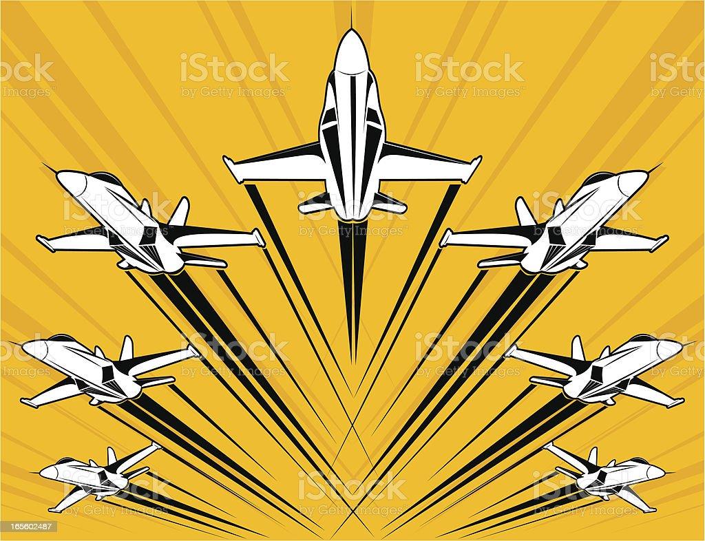 F18 super-hornet flying in formation vector art illustration