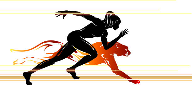 Superhuman Speed Female vector art illustration