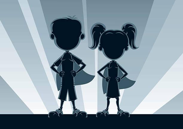illustrations, cliparts, dessins animés et icônes de silhouettes superkids - modèles de bande dessinée