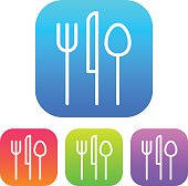 A super lightweight iOS7-style interface icon reversed on four different colored round corner squares: Blue, orange, green and purple. Line weights are super thin and modern. No transparencies were used.