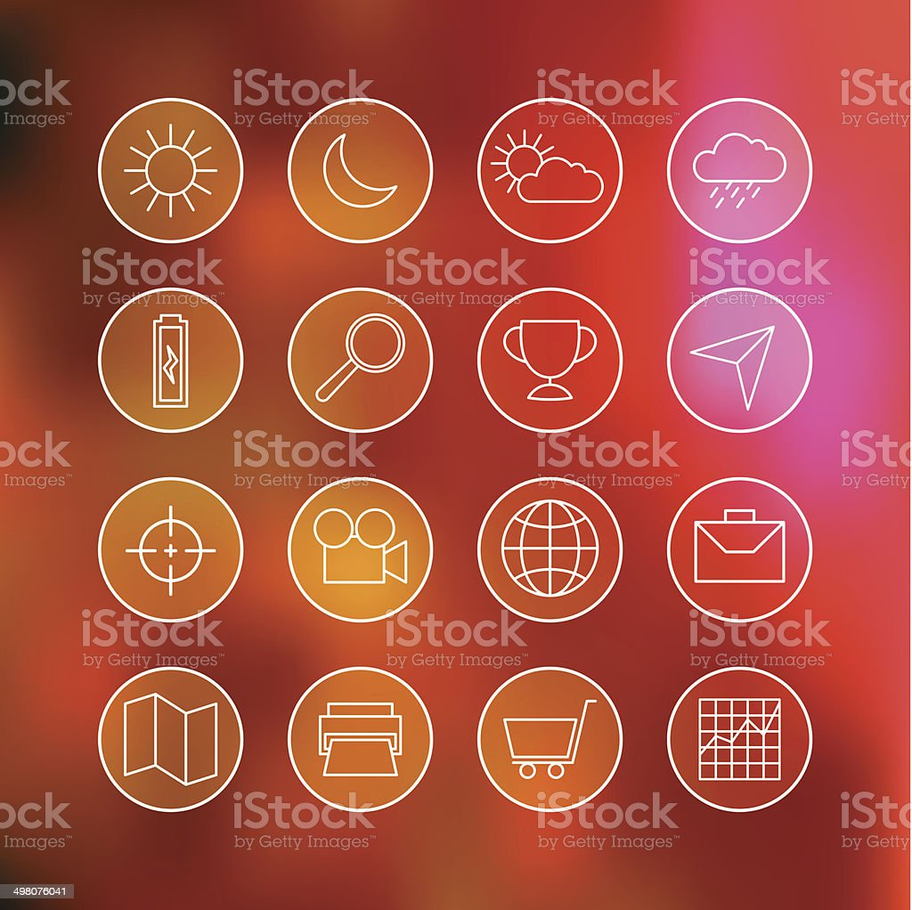 Superlight Interface Icon Set royalty-free stock vector art
