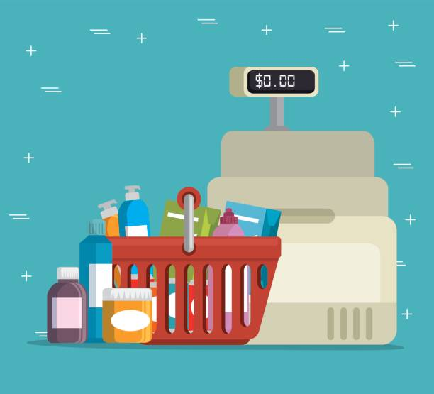 supermercado storecash registro - ilustración de arte vectorial
