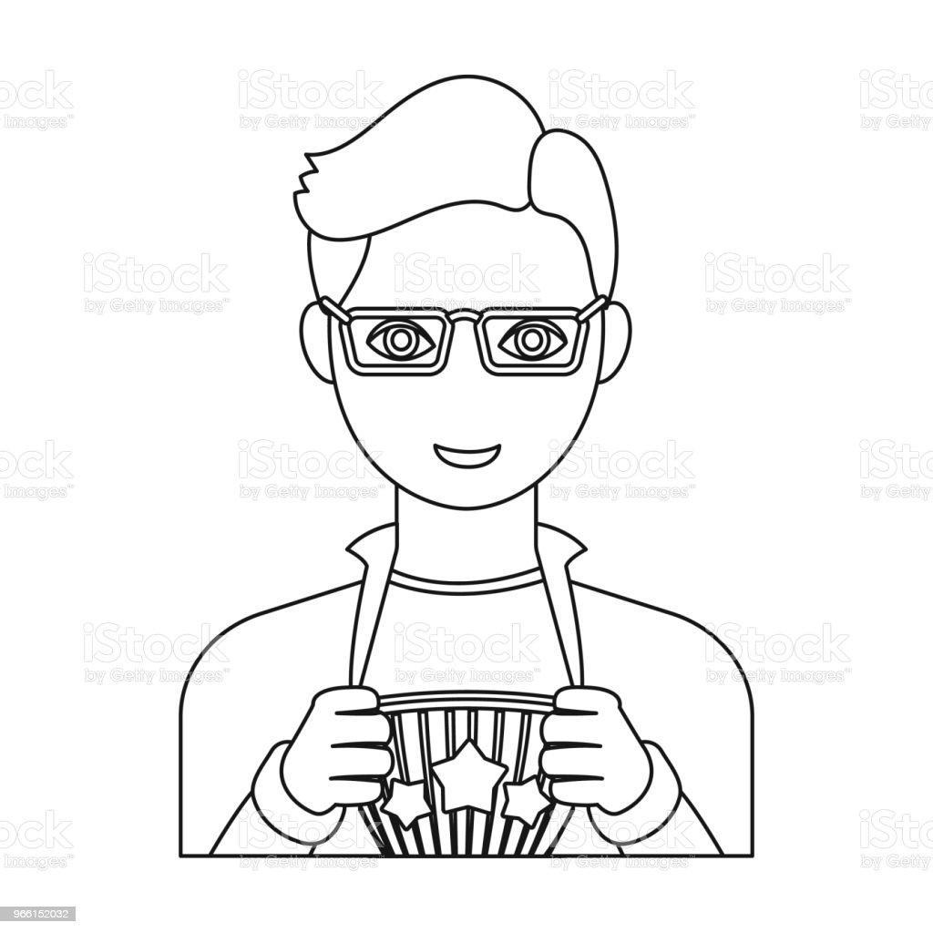 Superman single icon in outline style. Superman vector symbol stock illustration web. - Royalty-free Adulto arte vetorial