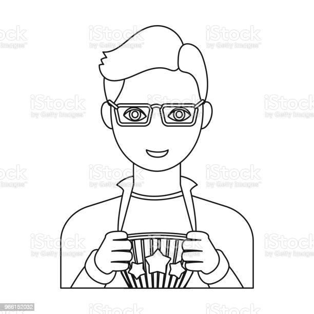 Superman Single Icon In Outline Style Superman Vector Symbol Stock Illustration Web — стоковая векторная графика и другие изображения на тему Векторная графика