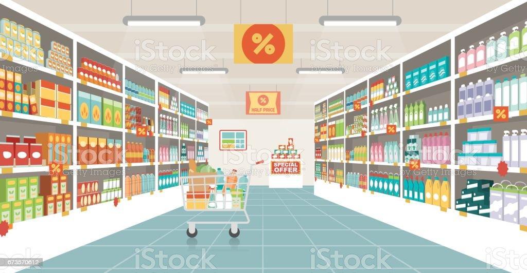 Supermarket aisle with shopping cart - Royalty-free Caixa arte vetorial