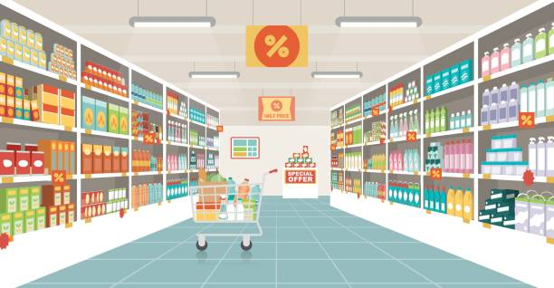 Supermarket aisle with shopping cart Supermarket aisle with shelves, grocery items and full shopping cart, retail and consumerism concept grocery store stock illustrations
