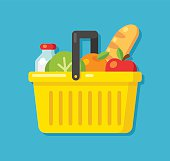 Bright cartoon supermarket basket icon full of produce. Flat vector illustration.