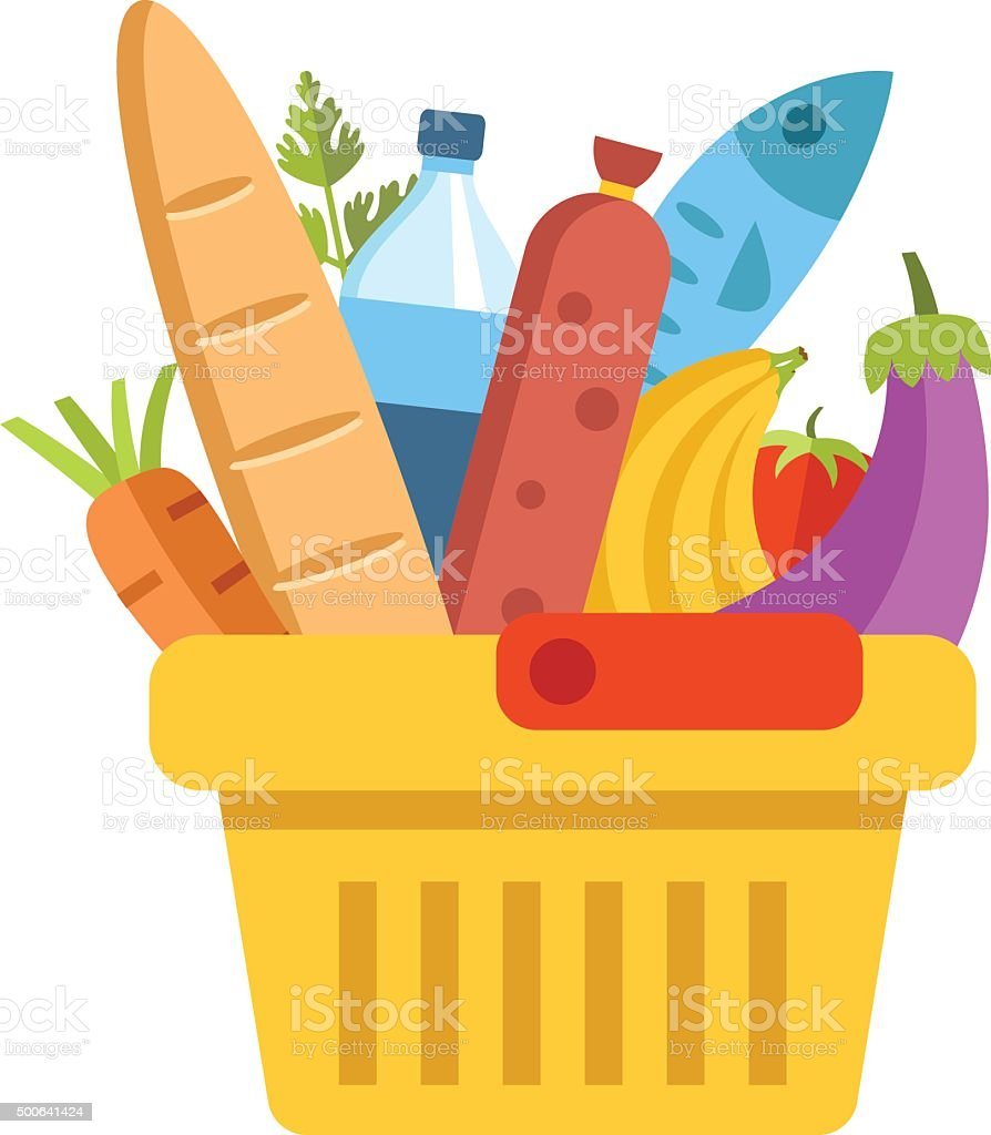 Supermarket basket with food. Colorful modern flat design vector illustration vector art illustration