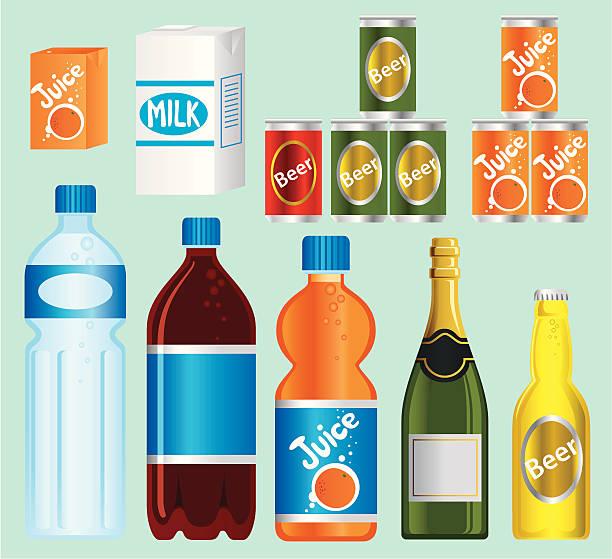 illustrazioni stock, clip art, cartoni animati e icone di tendenza di supermercato — serie di bevande - bottle soft drink
