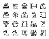 Supermarket Bold Line Icons Vector EPS File.