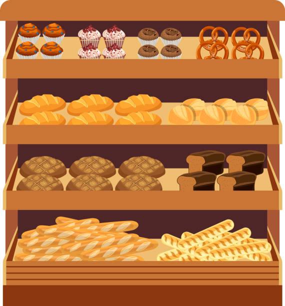 supermarkt. brot-schaufenster - schrankkorb stock-grafiken, -clipart, -cartoons und -symbole