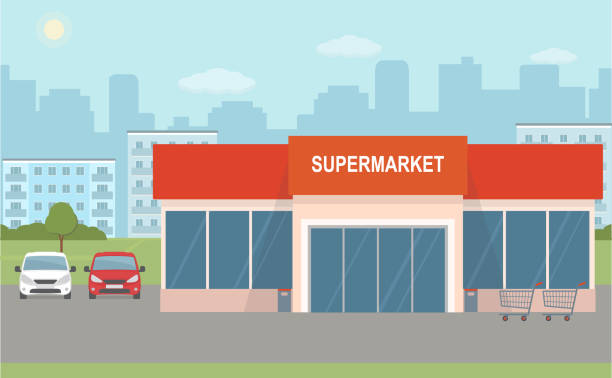 Supermarket building and two cars on city background. Supermarket building and two cars on city background. Urban landscape. Flat style, vector illustration. grocery store stock illustrations
