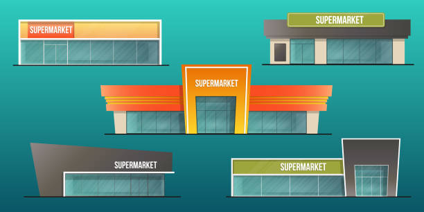 supermarket buildings set Supermarket buildings set  and local shop isolated vector illustration facade stock illustrations