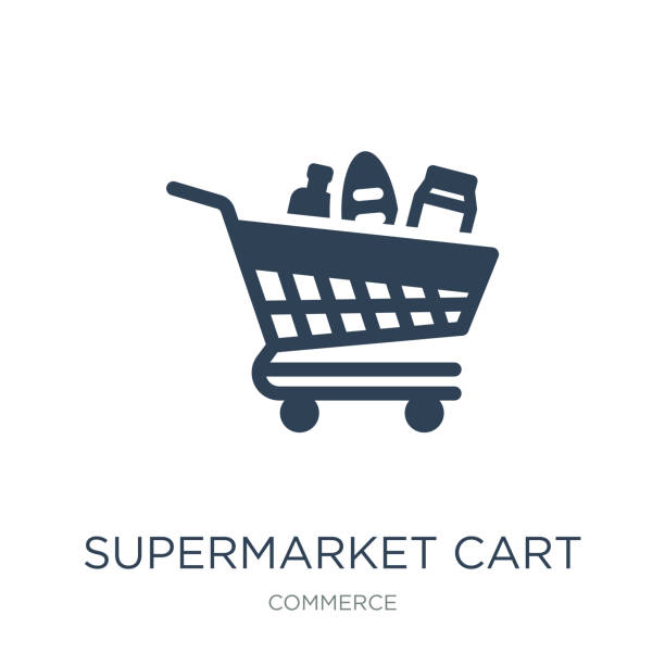supermarket cart icon vector on white background, supermarket ca supermarket cart icon vector on white background, supermarket cart trendy filled icons from Commerce collection grocery store stock illustrations