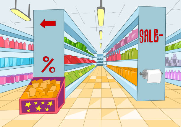 Supermarket Cartoon Supermarket with Long Shelfs. Vector Cartoon Background. EPS 10. The artwork don't have transparent objects. grocery aisle stock illustrations