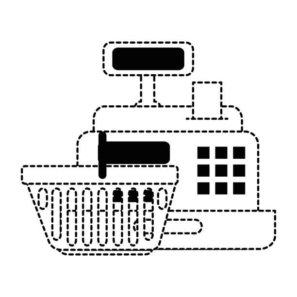 d5da8e2617 Cajero de supermercado con cesta de la compra - ilustración de arte  vectorial