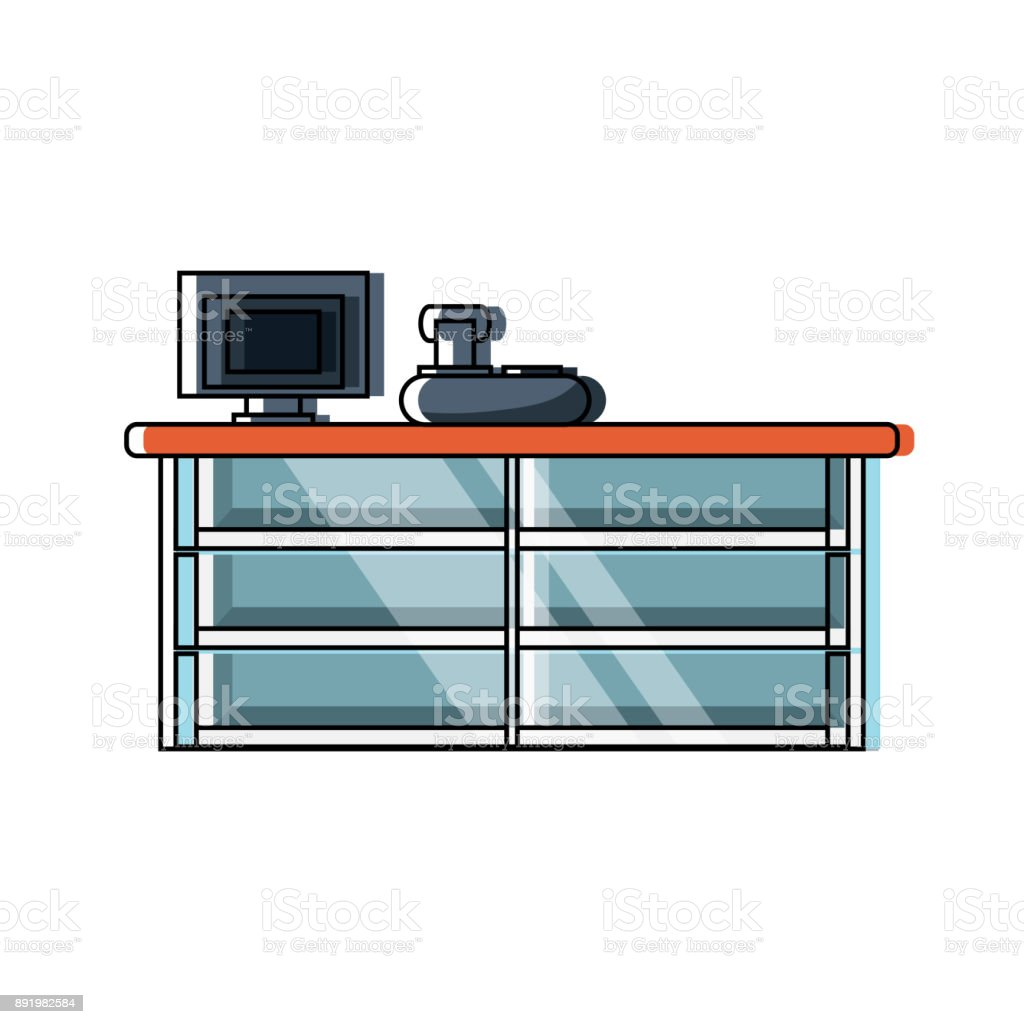 supermarket cash register design vector art illustration